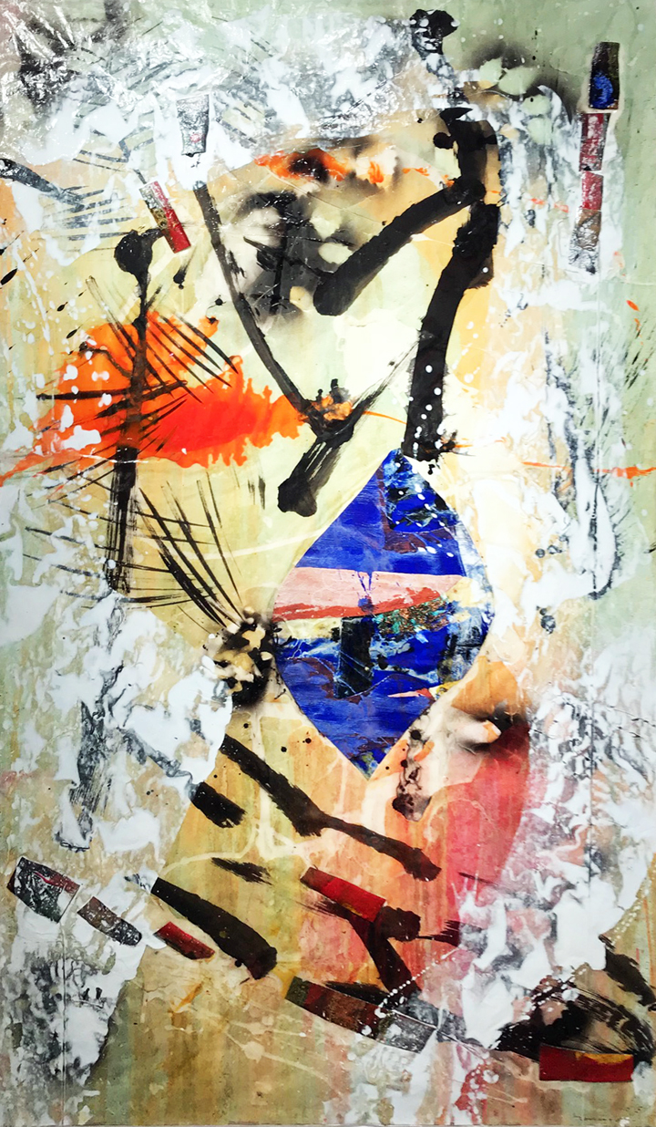 Excentrique III, Mixed media on paper, 71½'' x 39''