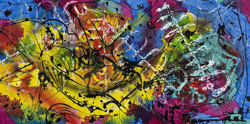 Grand Fiori III, Mixed media on canvas, 27½'' x 54''