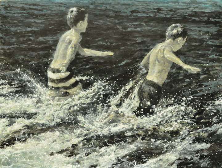 Water race, 2017, Mixed media on canvas, 36'' x 48''