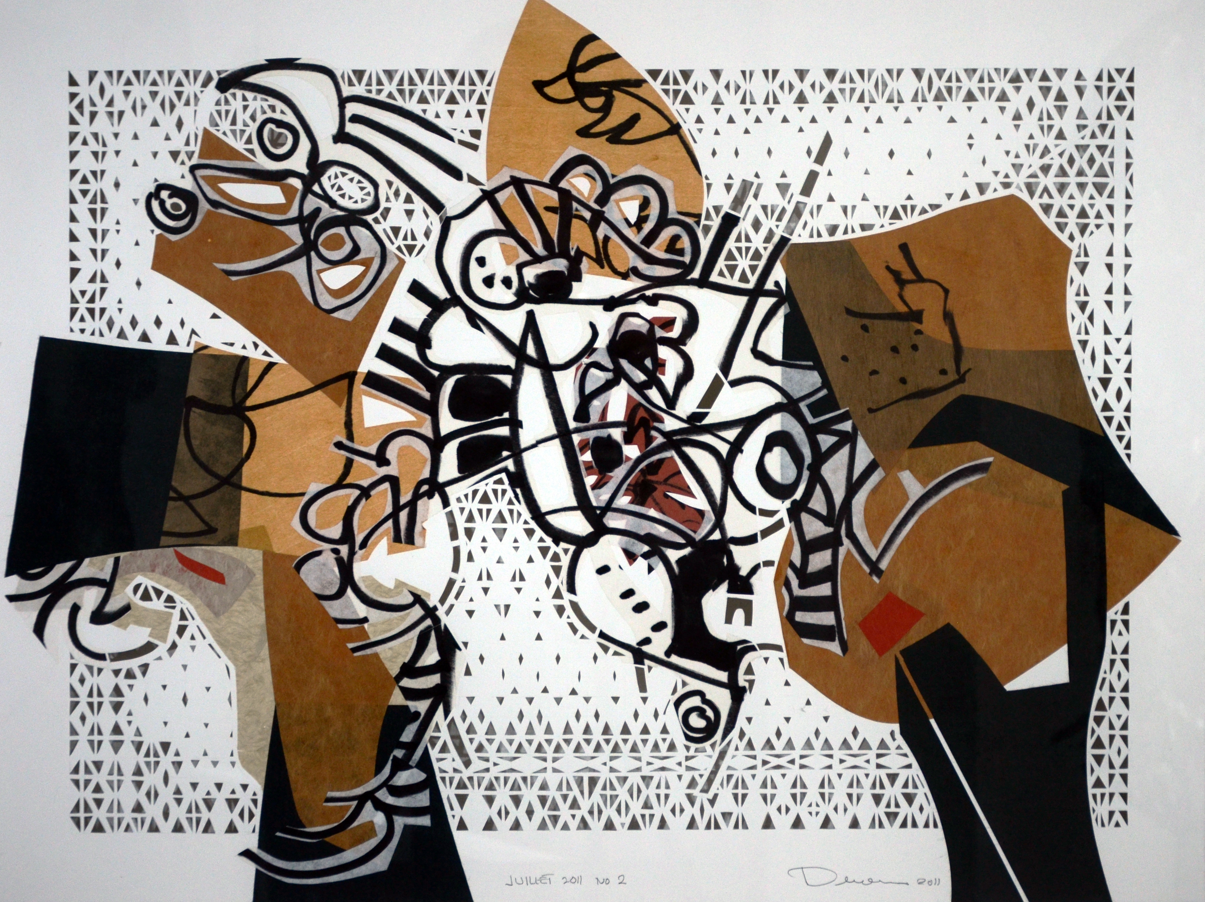 #2, 2011, Mixed media on paper laid down on canvas, 23½'' x 31½''