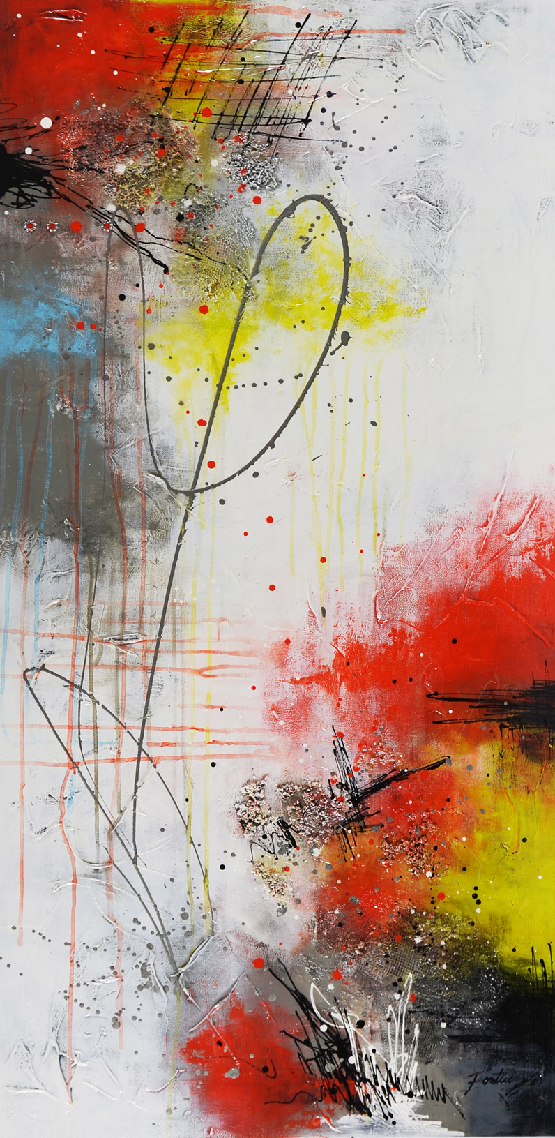 Amour naissant, 2019, Mixed media on canvas, 48'' x 24''