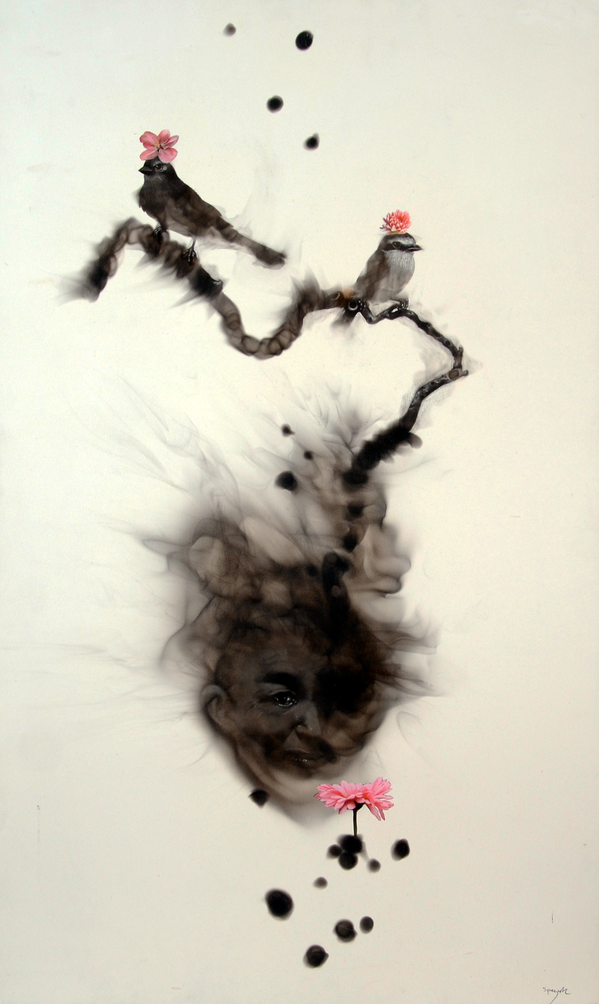 ...Odeur de printemps, Soot & collage on paper laid down on wood, 40'' x 24''