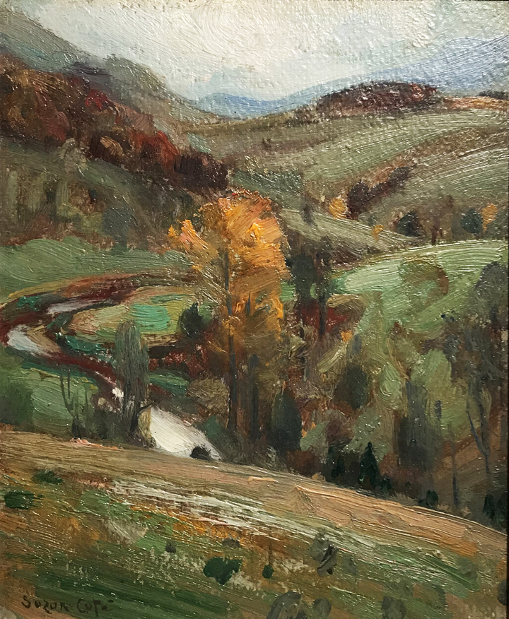 Paysage d'automne, Octobre, Arthabasca, Oil on board, 10'' x 8''
