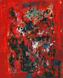 "Abstraction in red, Oil on panel, 16¼'' x 13¼''<span class=""sold"">sold</span>"