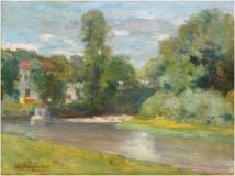 "Au bord de la rivière, Oil on canvas, 10'' x 13½''<span class=""sold"">sold</span>"