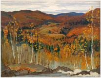 "Autumn in the Laurentians, Oil on panel, 8¾'' x 11''<span class=""sold"">sold</span>"