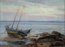 "Bateau à marée basse, Oil on canvas, 16'' x 22''<span class=""sold"">sold</span>"