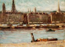 "La Seine, Paris, Oil on canvas, 28½'' x 12''<span class=""sold"">sold</span>"