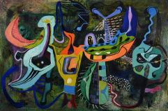 "Nocturne aux oiseaux, 1951, Oil on panel, 16'' x 24''<span class=""sold"">sold</span>"
