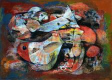 "Untitled, no.9, Paris, 1955, Oil on cardboard, 7½'' x 10½''<span class=""sold"">sold</span>"