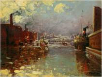 "Chicago River, 1909, Oil on board, 9'' x 11½''<span class=""sold"">sold</span>"