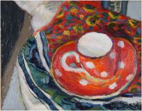 "La tasse rouge, 1939, Oil on panel, 7½'' x 9½''<span class=""sold"">sold</span>"
