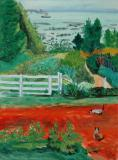 "Farm garden, Charlevoix, 1941, Oil on canvas, 23'' x 17''<span class=""sold"">sold</span>"