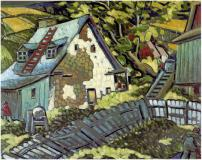 "Ferme en Charlevoix, Oil on canvas, 21½'' x 28''<span class=""sold"">sold</span>"