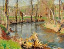 "Giverny, 1888, Oil on canvas, 10¼'' x 13¼''<span class=""sold"">sold</span>"