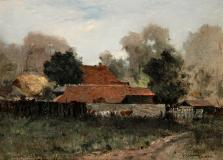 "Ham farm, Oil on canvas, 10'' x 14''<span class=""sold"">sold</span>"