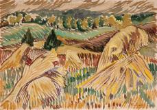 "Harvest, Magog, Watercolour on paper, 9¾'' x 14''<span class=""sold"">sold</span>"