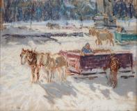"Horse sleighs at Mount-Royal, Pastel sur papier, 9'' x 11''<span class=""sold"">vendu</span>"