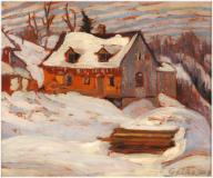 "House in winter, Charlevoix, Oil on panel, 8½'' x 10½''<span class=""sold"">sold</span>"