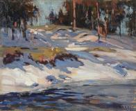 "Late Winter, Oil on board, 8½'' x 10½''<span class=""sold"">sold</span>"