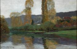 "Le long de la rivière, 1904, Oil on canvas, 12½'' x 19''<span class=""sold"">sold</span>"