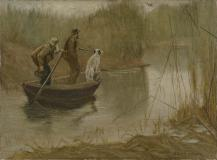 "Chasse aux canards par un matin brumeux, Oil on canvas, 11¼'' x 15¼''<span class=""sold"">sold</span>"