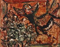 "Les nids dévastés, 1951, Oil on panel, 10½'' x 13¼''<span class=""sold"">sold</span>"