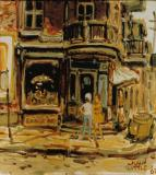 "Street Corner, 1962, Oil on canvas, 10'' x 9''<span class=""sold"">sold</span>"