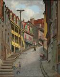 "Looking up Côte Labadie, Lévis, 1949, Oil on board, 28'' x 22''<span class=""sold"">sold</span>"