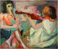 "Musiciennes, Oil on panel, 15'' x 18''<span class=""sold"">sold</span>"