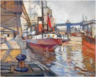 "Montreal harbour, 1939, Gouache on paper, 19½'' x 24''<span class=""sold"">sold</span>"