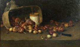 "Nature morte aux oignons, Oil on canvas, 12'' x 20''<span class=""sold"">sold</span>"