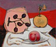 "Nature morte aux olives, 1951, Oil on canvas, 18'' x 21½''<span class=""sold"">sold</span>"