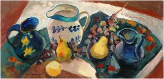"Nature morte aux pichets, Oil on panel, 10¾'' x 22''<span class=""sold"">sold</span>"
