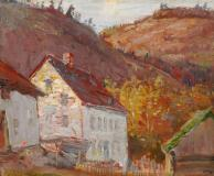 "Old Mill, Baie St-Paul, Huile sur toile, 8'' x 10''<span class=""sold"">vendu</span>"