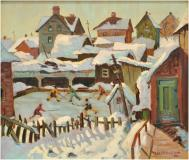 "Partie de hockey, 1936, Oil on canvas, 18¼'' x 31¼''<span class=""sold"">sold</span>"