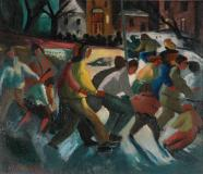 "Patineurs, parc Flora, 1944, Oil on canvas, 18'' x 21''<span class=""sold"">sold</span>"