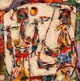 "Personnages aux parasols, 1958, Oil on cardboard, 8'' x 8''<span class=""sold"">sold</span>"