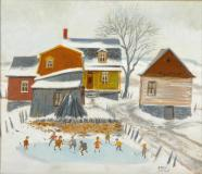 "Playing hockey, Oil on canvas, 10'' x 12''<span class=""sold"">sold</span>"
