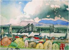 "Pont Jacques-Cartier en construction, 1929, Watercolour on paper, 9½'' x 13½''<span class=""sold"">sold</span>"