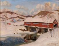 "Pont couvert, Laurentides, Oil on panel, 10¾'' x 16½''<span class=""sold"">sold</span>"
