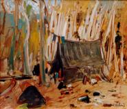 "Camp de trappeur, Oil on panel, 18'' x 22''<span class=""sold"">sold</span>"