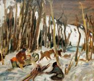 "Trappeurs en forêt, Oil on panel, 24'' x 30''<span class=""sold"">sold</span>"