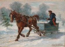 "Sleigh ride, Oil on canvas, 12¼'' x 17¼''<span class=""sold"">sold</span>"