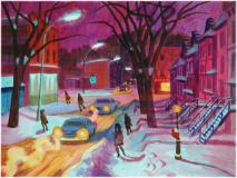 "Snowy street, 1966, Oil on paper on board, 14¾'' x 19¾''<span class=""sold"">sold</span>"