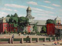 "St-Ann's church, Gallery square, Montréal, 1949, Oil on panel, 24'' x 32''<span class=""sold"">sold</span>"
