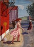 "Street scene, 1950, Oil on panel, 8'' x 6''<span class=""sold"">sold</span>"