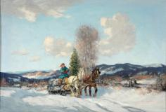 "Sunny Winter day, 1944, Oil on canvas, 15½'' x 22½''<span class=""sold"">sold</span>"