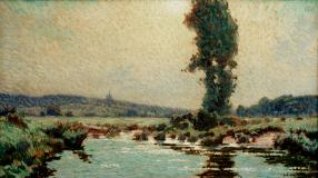 "Matinée d'été, Arthabaska, 1903, Oil on canvas, 18'' x 30''<span class=""sold"">sold</span>"