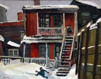 "House just off Voltigeurs Street, Montreal, 1946, Oil on panel, 8½'' x 10½''<span class=""sold"">sold</span>"